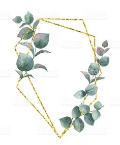 Watercolor vector composition from the branches of eucalyptus and gold geometric frame. watercolor vector composition from the branches of eucalyptus and gold geometric frame - stockowe grafiki wektorowe i więcej obrazów akwarela royalty-free Geometric Flower, Geometric Logo, Flower Background Wallpaper, Flower Backgrounds, Flower Tattoo Arm, Arm Tattoo, Free Watercolor Flowers, Watercolor Art, Flower Frame