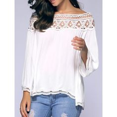 Crochet Off-The-Shoulder Blouse Style: Streetwear Material: Polyester Shirt Length: Regular Sleeve Length: Full Collar: Off The Shoulder affiliate Off Shoulder Tops, Off Shoulder Blouse, Crochet Blouse, Crochet Top, Free Crochet, Sammy Dress, Blouse Styles, Mode Style, Boho Fashion