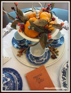 Fall Dining Display - Blue Willow and Orange Pumpkins