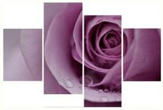 4 Piece Set Art Canvas Pictures Floral Pale Lilac Rose Modern Home Wall Prints