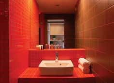 Bathroom of a standard room of Lanchid 19 design hotel. Design Hotel, Buda Castle, Hotel Budapest, Sink, Contemporary, Mirror, Bathroom, Architecture, Home Decor