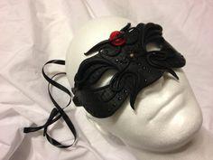 Men's Masquerade Mask - Black / Red Art - Perfect for Costume Parties, Wedding Parties, Proms, Mardi Gras, Renaissance, Venetian, Carnival on Etsy, $33.99