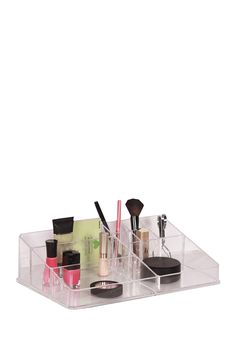 Clear 9 Compartment Cosmetic Organizer - I love having this in my bathroom!