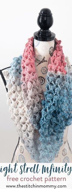 Moonlight Stroll Infinity Scarf - Free Crochet Pattern - Scarf of the Month Club hosted by The Stitchin' Mommy and Oombawka Design Crochet Beanie, Crochet Shawl, Free Crochet, Crochet Granny, Crochet Vests, Crochet Cape, Crochet Motif, Crotchet, Hand Crochet