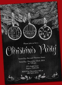 Chalkboard Christmas party invitation card hand by CupidDesigns, $18.00
