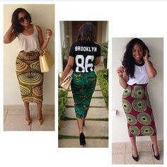 """Repost via @stylemeafrica!  @mariangela_a, creative director of @fiu_negru is stunning in these """"African inspired"""" pencil skirts! Love it! #AfricanFashion"""