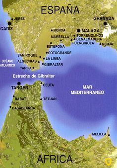 Strait of Gibraltar, Atlantic ocean on the left, Mediterranean sea on the right. Spain Europe at top, African continent at bottom.
