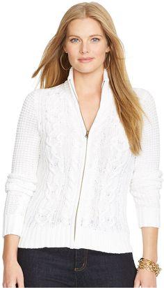 Lauren Ralph Lauren Plus Size Cable-Knit Zip-Front Cardigan