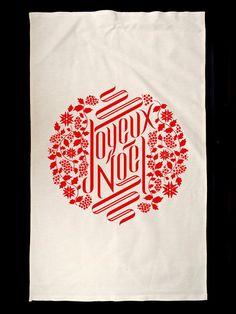 Joyeux Noel Tea Towel by NewLeavesStudio on Etsy
