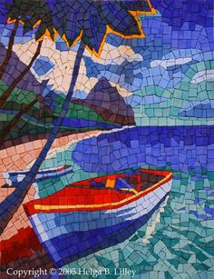 Stained Glass Mosaic Artwork - Sail Boat- 18 X 18 inches - Wooden frame - By Glass artist Seba. Description from pinterest.com. I searched for this on bing.com/images