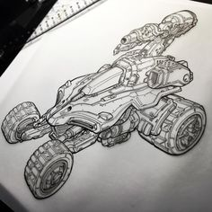 ... one of the most fun aspects of drawing some of these Starcraft vehicles was having to 'translate' old-school, very simple, low-poly models into something that looked more fleshed out and 'realistic' (for lack of a better term) while at the same time, keeping the chunky, fun TONKA type shapes of the Starcraft universe!  #starcraft #blizzard #deewerks #techytech #tonkatechruuules !!!