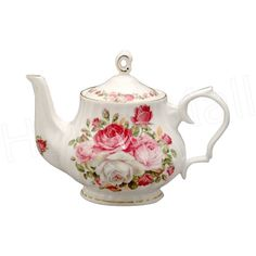 English Teapots And Cups   china 6-cup teapot; 40 ounces Gold Trimmed & Swirl Shape This teapot ...