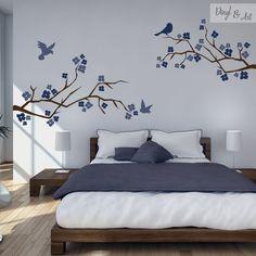 Vinilo Decorativo Ramas, Flores y Pájaros