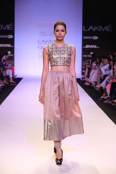 Payal Singhal Noelle Geometric Embroidered Crop Tunic Worn with Mocha Silk Mul Churidar-Skirt with Gold Brocade Border