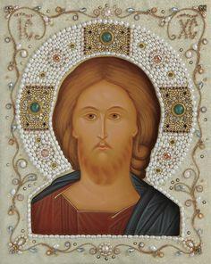 Pearl Halos Wedding Set - Holy Saviour http://catalog.obitel-minsk.com/iom-04-01-venchal-naja-para-zhemchuzhnye-nimby.html?&___store=default #Orthodox #Icons - #OrthodoxIcons - #Eastern #Orthodoxy, #Saint, #Hand-painted, #Miracle, #Blessed #Faith #Jesus #Christ #Saviour