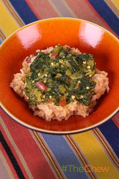 Don't miss out on this spicy Caribbean Stewed Spinach with Rice & Beans! #TheChew