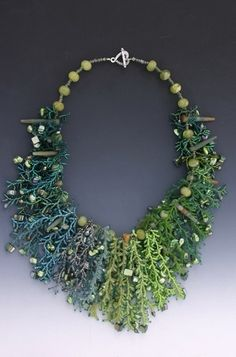 Necklace | Coralling stitch using seed beads, pearls, crystals, mother-of-pearl, jade