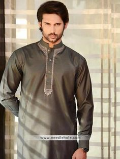 Umber #kurta suit for men in cotton silk. #Embroidered front kurta comes with matching shalwar  http://www.needlehole.com/umber-kurta-suit-for-men-in-cotton-silk.html Designer #amir adnan kurta suits and shalwar kameez uk. Latest #shalwar kameez designs and indian #kurta shalwar collections for men by amir adnan kurta outlets in uk