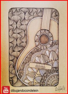 Zentangle art paso a paso diseño #7, esta linda guitarra acompaña en paso a paso de el estampado zentangle #7#zentangleart , #estampadozentangle , #diseñozentangle, #zentanglepattern , #dibujo , #deleinpadilla , #dibujandocondelein