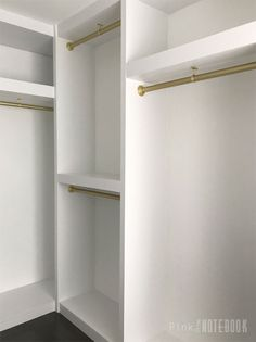 Installing our own Built-In Closet System (with pricing) - Pink Little NotebookPink Little Notebook Diy Closet Shelves, Diy Closet System, Closet Built Ins, Building Closet Shelves, Closet Organization, Diy Master Closet, Build A Closet, Closet Bedroom, Glam Closet