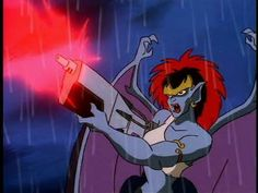 Demona was originally with the clan from Scotland, but she wasn't destroyed or frozen in stone after the attack. She was aging and dying as she survived the ages until a deal was struck with Macbeth and she regained her youthful vigor as well as a need for vengeance. She now searches  for ways to destroy all humans and vehemently opposes Goliath's protection of humans - as such she is also a main villain of the series.