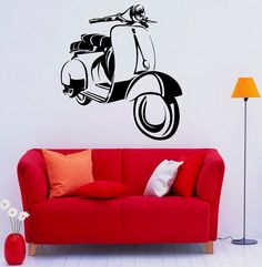 Ciclomotore Scooter Wall Decal vinile adesivi moto arte interno camera da letto rimovibile Home Decor (9mstr)