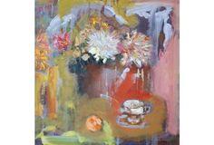 Still Life w/ Chrysanthemums & Orange