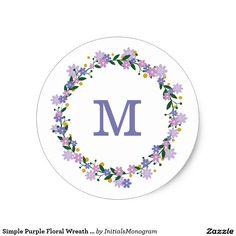Simple Purple Floral Wreath Monogram Seal Classic Round Sticker