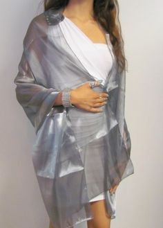 Beautiful sheer  chiffon shawls extreme beauty series features silver grey,pewter, gold and white shawls that are shiny and beautiful for your evening dress /gown. The white sheer chiffon shawl makes a gorgeous wedding shawl. Item 3207