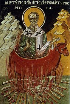 Saint Antipas of Pergamon. Spiritual student of Saint John the Apostle. Bishop of Pergamum. Martyred by being burned alive in a bronze bull.