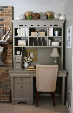 """A Craigslist furniture before & after makeover with """"Earthy Stoneware"""" paint by Better Homes and Gardens. I like how the neutral color and decorations would allow this to for in a family room!"""