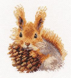 Your place to buy and sell all things handmade - Modern Counted Cross Stitch Hand Embroidery Kit Cute Squirrel, Squirrel Print, Funny Cross Stitch, - Counted Cross Stitch Kits, Cross Stitch Charts, Cross Stitch Designs, Cross Stitch Patterns, Loom Patterns, Funny Embroidery, Cross Stitch Embroidery, Embroidery Patterns, Hand Embroidery