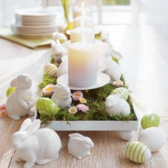 Dining Room, Wonderful Easter Table Decorating Ideas With White Gypsum Rabbit Statues And Rectangular Wooden Grass Places And Unique Green Fungi Imitation Also White Candle On White Ceramic Plate: Famous DIY Easter Table Decoration Ideas For Your Party