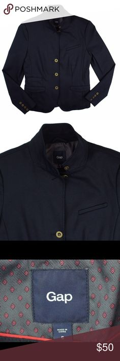 """New GAP Navy Blue Ponte Knit Blazer Jacket NWOT. This new navy blue Ponte knit blazer from The Gap features button closures and is unlined. Made of a cotton/modal/nylon/Lycra blend. Measures: bust: 36"""", total length: 24"""", sleeves: 24"""" GAP Jackets & Coats Blazers"""
