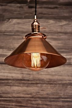 Copper 10'' Cone Shade Industrial Hanging by VintageLightsZone