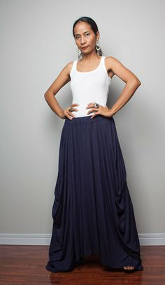 Floor length Skirt -  Long Navy Blue Skirt : Au... from Nuichan by DaWanda.com