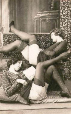 Reading flappers.  I feel as if there was a whole genre of pinup art that featured a girl dressed conservatively and reading a book with her skirt hiked up.  I kind of appreciate it, oddly.