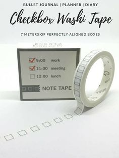 I love washi tape! This checkbox design is perfect for shopping lists, to-do lists, or packing lists. Perfect for your BuJo or planner> #ad #bujo #bulletjournal #planner #washitape