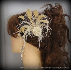 Champagne HandBeaded Feather Fascinator Bridal by RoyalEXander, $45.50