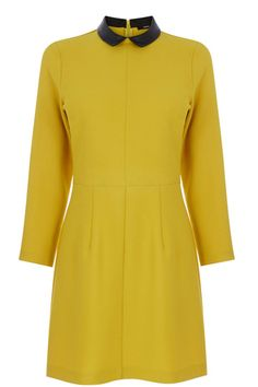 Oasis | Ochre Collar Dress £45.00. http://www.oasis-stores.com/ochre-collar-dress/dresses/oasis/fcp-product/3470126251 Fabric: 2% Elastane,98% Polyester. Product code: 3470126251.  Long-sleeved shift dress in yellow/Ochre colour. With a contrast faux leather peter pan collar and concealed zip on the back. (Autumn/Winter 2014)