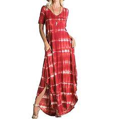 Striped Short Sleeved Pocket Dress Women's Casual Split Irregular Hem Long Beach Sunmoot (L, Red) Casual Summer Dresses, Casual Dresses For Women, Short Sleeve Dresses, Dress Casual, Maxi Dresses, Long Sleeve Mesh Dress, Striped T Shirt Dress, Striped Maxi, Stripe Dress
