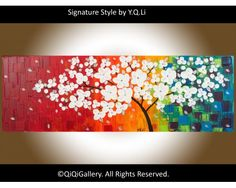 "Full Blossom Abstract Landscape Handmade Acrylic Painting Heavy Texture Impasto Tree Palette Knife Wall Décor ""Full Blossom"" by QiQiGallery, $185.00"