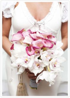 pink and white ombre orchid bouquet