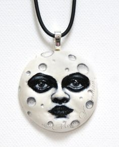 Full moon face black and white pendant, original art jewellery by Magics of Creation