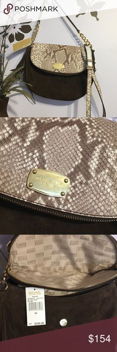 "BEAUTIFULMichael Kors Python Bag! New/unused! Stunning Michael Kors Medium Shoulder or Crossbody bag with MK Dust Cover. Retails for $298. The exterior is ""Coffee"" (dark brown) suede with a ""Cocoa"" (beige python) flap, handle, and strap. The bag's exterior dimensions are 11""L x 8.5""H x 3""D. The crossbody strap is removable and adjustable with a drop length of 20"" to 24"".‼️   These pics don't do it justice!!!! Michael Kors Bags"