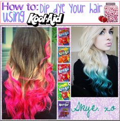"""How to: Dip Dye your hair using Kool Aid!"" by thetipcastle on Polyvore"