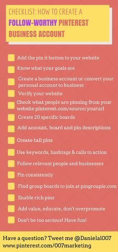 Pinterest checklist: how to create a follow-worthy Pinterest business account.