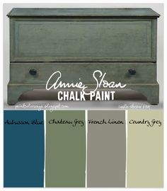 Adding a little Aubusson Blue to Annie Sloan Chalk PaintⒸChateau Grey will result in a green with strong blue undertones, as seen on the antique blanket chest above. French Linen and Country Grey ...