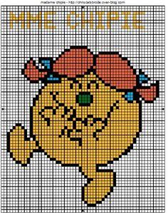 """Résultat de recherche d'images pour """"monsieur madame point de croix"""" Pixel Art, Monsieur Madame, Le Point, Cross Stitch Designs, Crafts For Kids, Pattern, Blog, Images, Chart"""