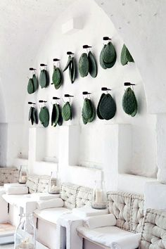 Prickly pear (Opuntia ficus-indica) leaves (cladodes) hang as decoration in total-white main room, Masseria Cimino, Puglia, Italy Deco Restaurant, Restaurant Design, Cactus Restaurant, Commercial Design, Commercial Interiors, Interior Architecture, Interior And Exterior, Spa Interior Design, Interior Plants
